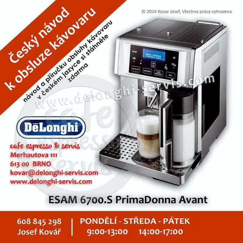 Manuál, návod a příručka obsluhy CZ v českém jazyce pro automatický espresso kávovar DeLonghi PrimaDonna Avant ESAM 6700 EX1