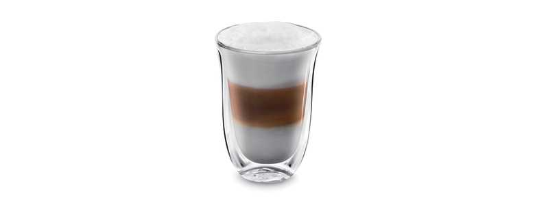 Sklenice káva Latte-Machiato