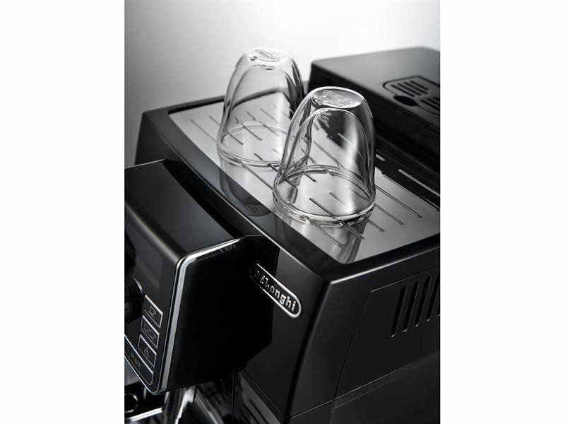 Espresso kávovar DeLonghi ECAM 25.452.B detailní pohled na odkládací plochu šálků