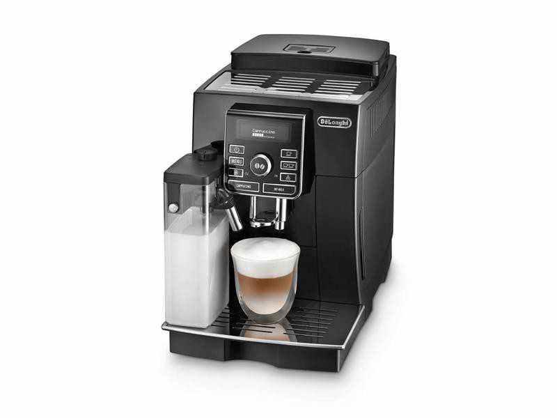 Espresso kávovar DeLonghi ECAM 25.452.B detailní pohled na kávovar z levé strany